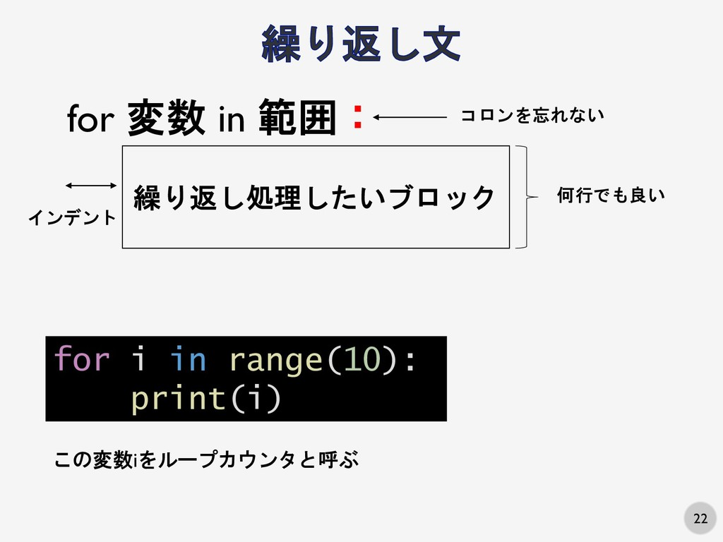 22 for i in range(10): print(i) for 変数 in 範囲: 繰...