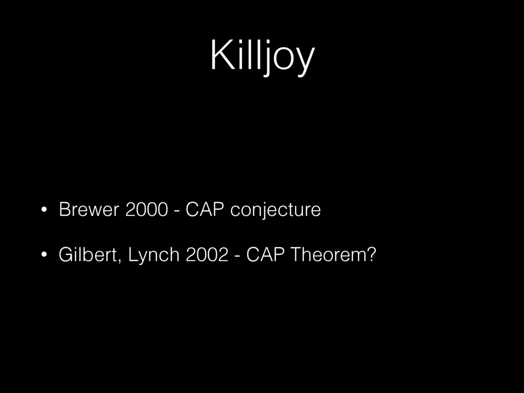 Killjoy • Brewer 2000 - CAP conjecture • Gilber...