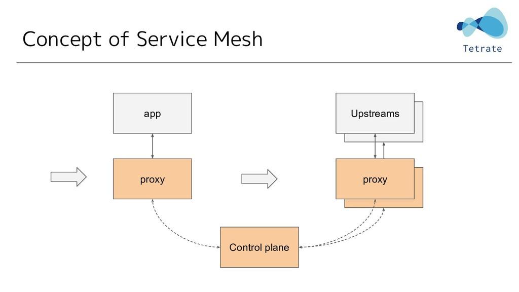 Concept of Service Mesh proxy app Control plane...