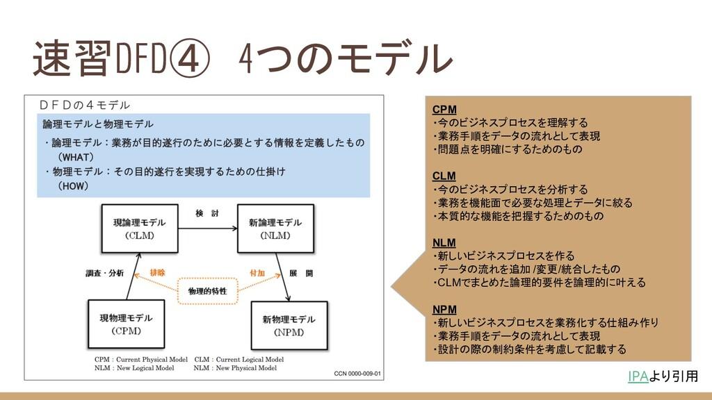 速習DFD④ 4つのモデル IPAより引用 CPM ・今のビジネスプロセスを理解する ・業務手...