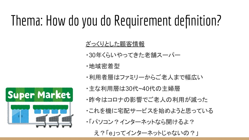 Thema: How do you do Requirement definition? ざっく...
