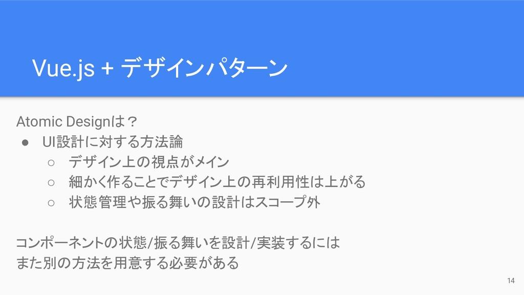 Vue.js + デザインパターン 14 Atomic Designは? ● UI設計に対する...