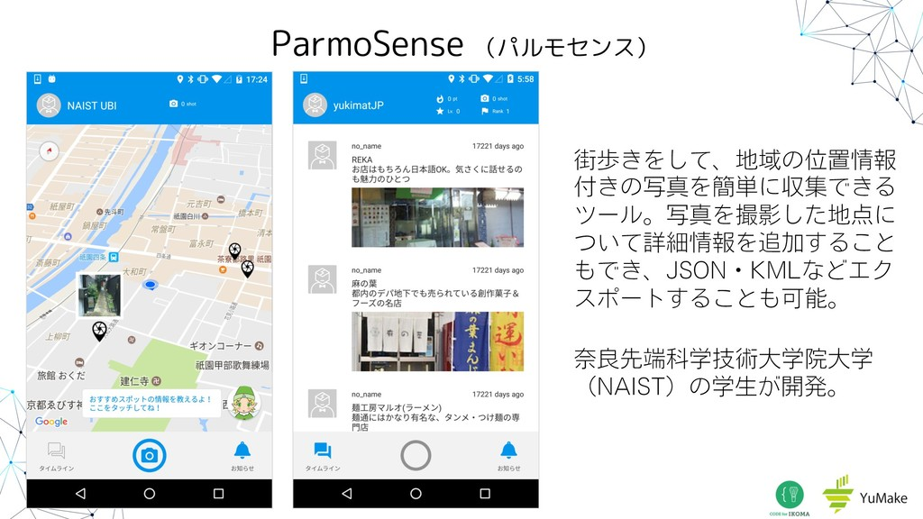 ParmoSense (パルモセンス) ֗า͖Λͯ͠ɺҬͷҐஔใ ͖ͷࣸਅΛ؆୯ʹऩूͰ...