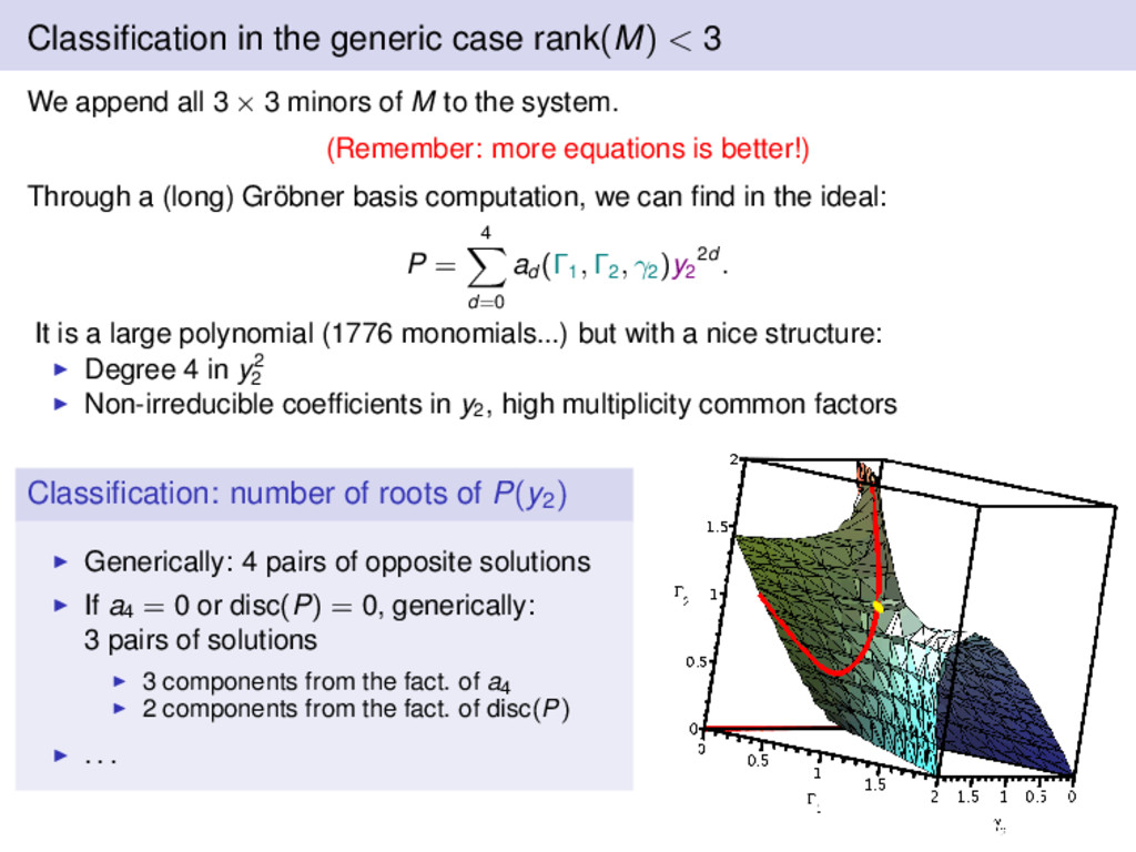 Classification in the generic case rank(M) < 3 W...