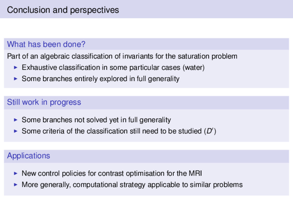 Conclusion and perspectives What has been done?...