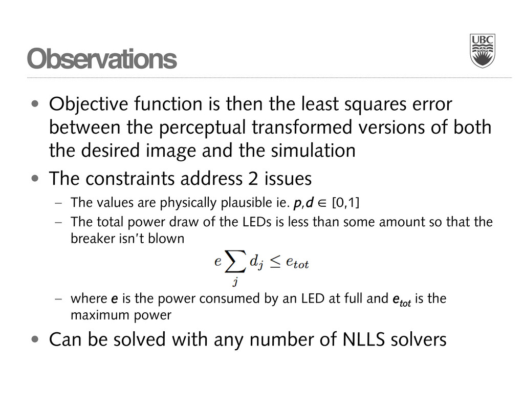 Observations • Objective function is then the l...