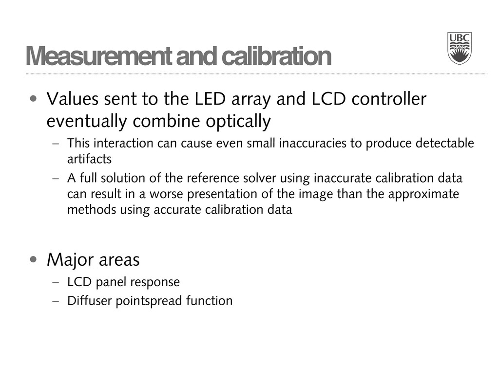 Measurement and calibration • Values sent to th...