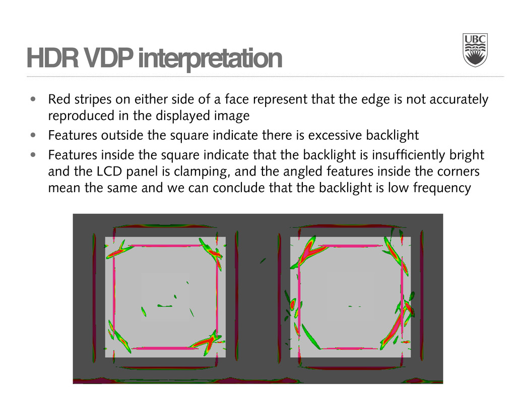 HDR VDP interpretation • Red stripes on either ...