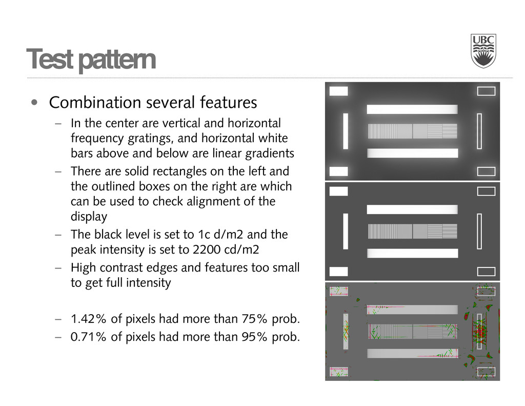 Test pattern • Combination several features – I...