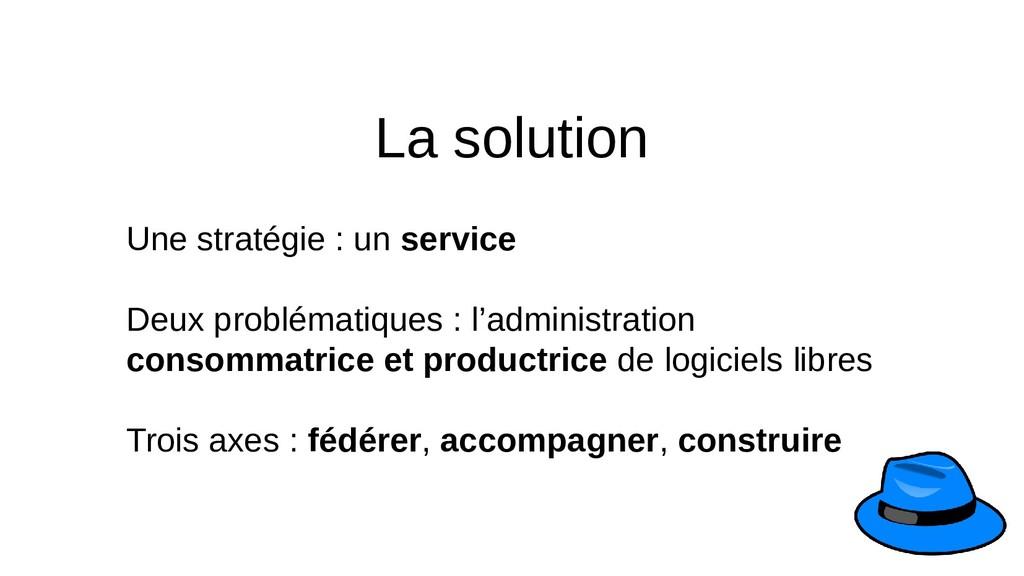 La solution Une stratégie : un service Deux pro...