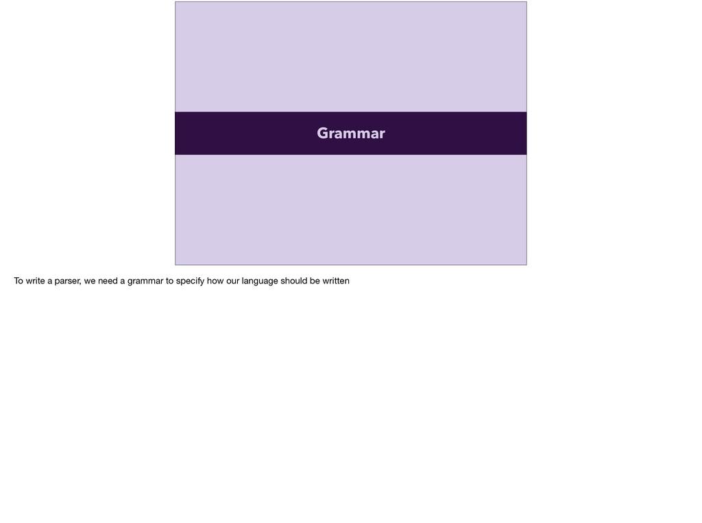 Grammar To write a parser, we need a grammar to...
