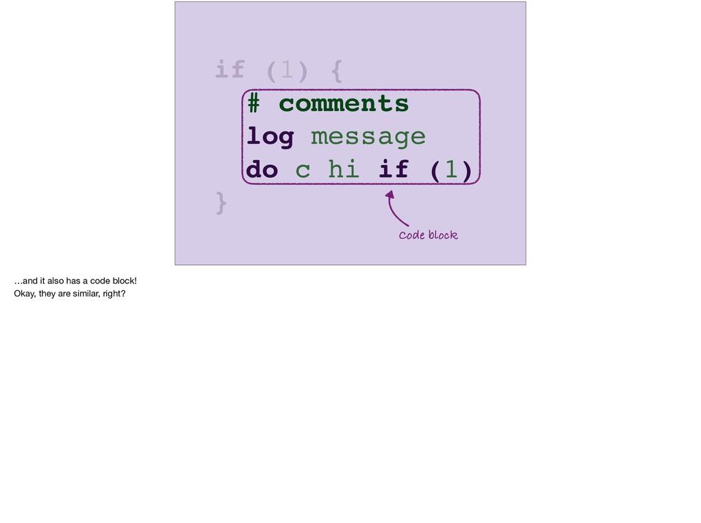 # comments log message do c hi if (1) Code bloc...