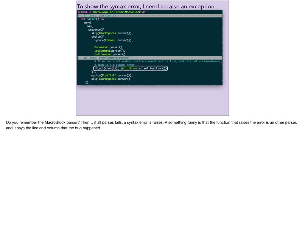 To show the syntax error, I need to raise an ex...