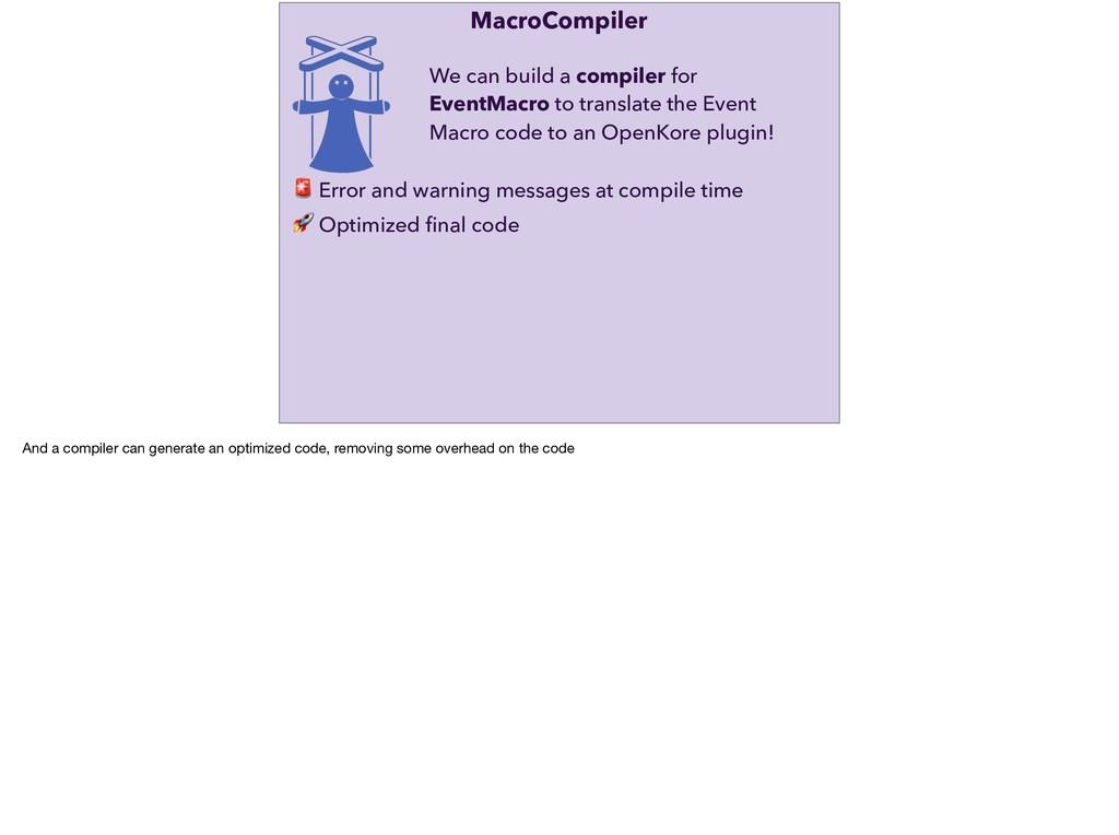 MacroCompiler  Optimized final code  Error and w...