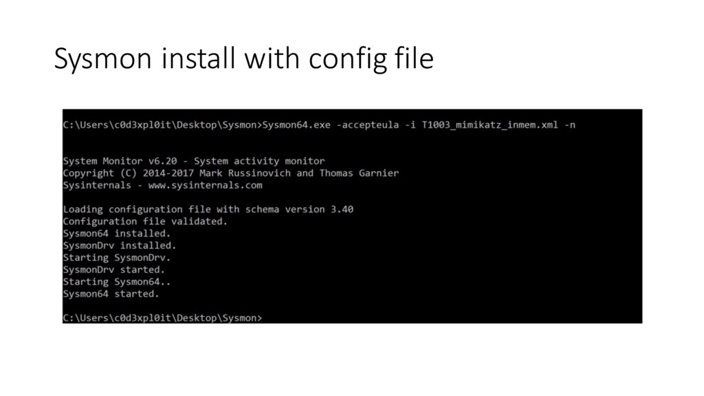 Sysmon install with config file