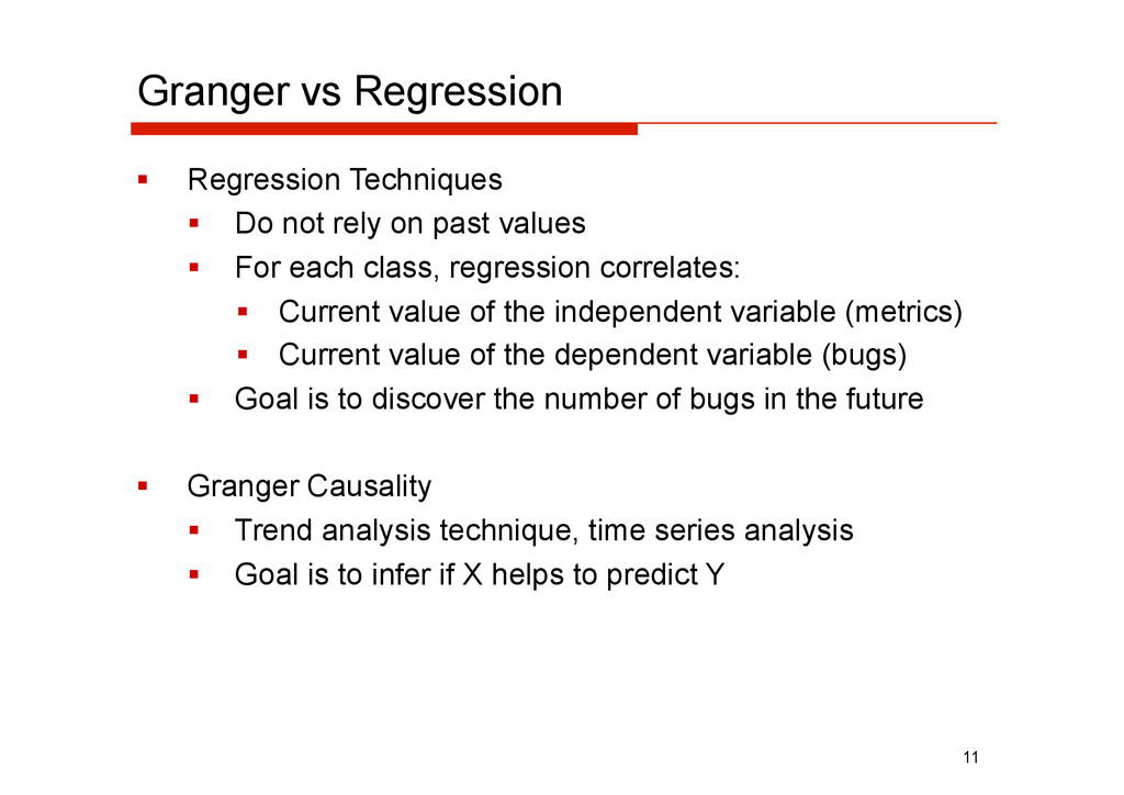 Granger vs Regression   Regression Techniques ...