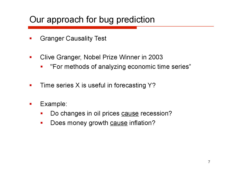 Our approach for bug prediction   Granger Caus...