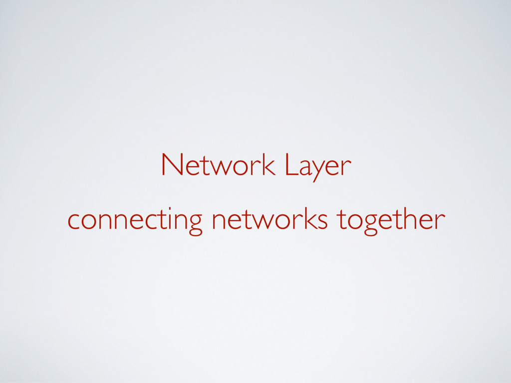 Network Layer connecting networks together