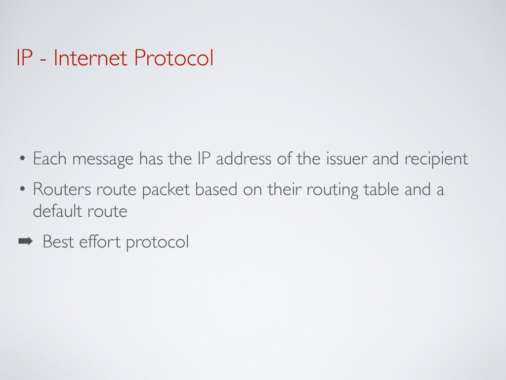 IP - Internet Protocol • Each message has the I...