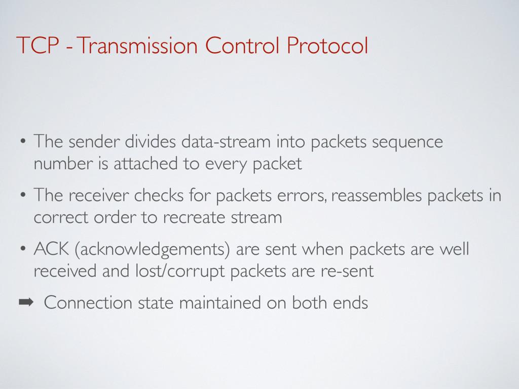 TCP - Transmission Control Protocol • The sende...