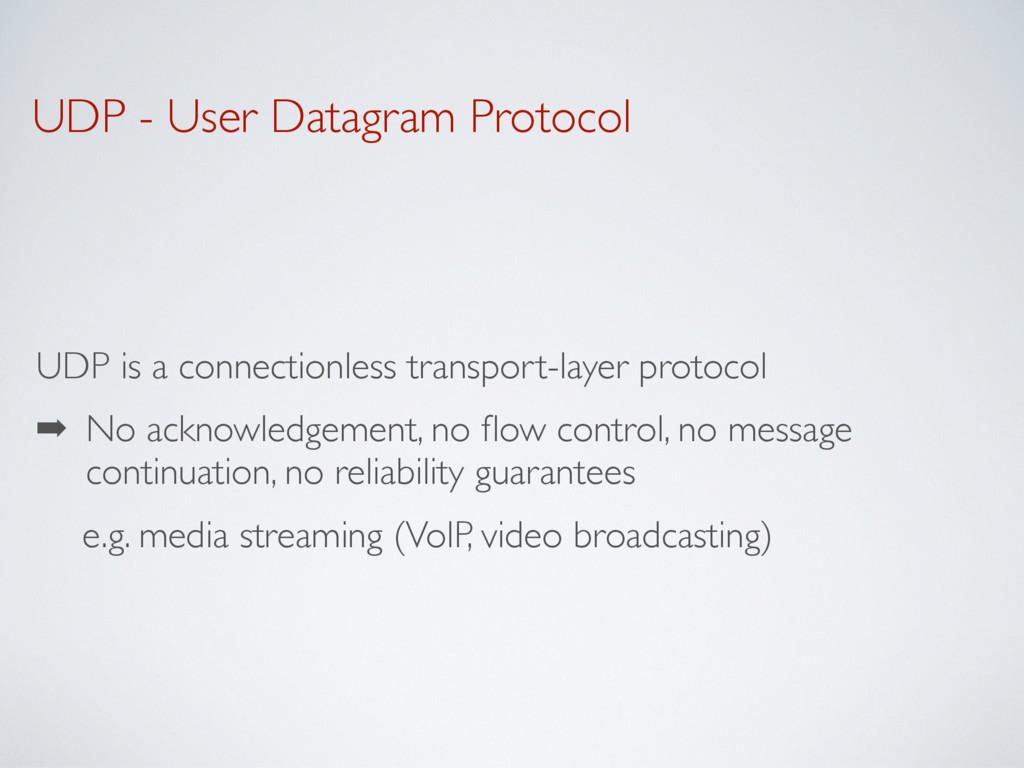 UDP - User Datagram Protocol UDP is a connectio...