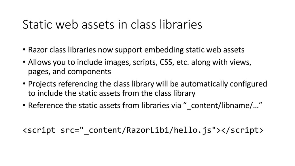 Static web assets in class libraries • Razor cl...