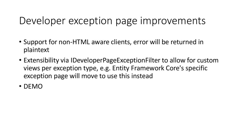 Developer exception page improvements • Support...