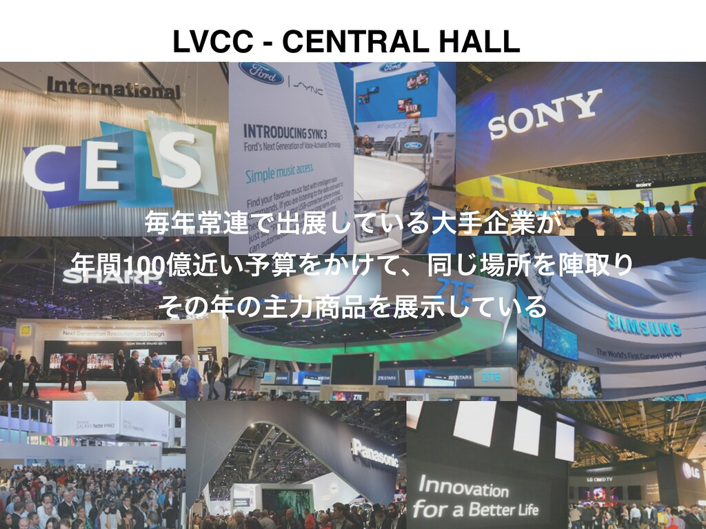 LVCC - CENTRAL HALL ຖৗ࿈Ͱग़ల͍ͯ͠Δେखاۀ͕! ؒ100ԯ͍ۙ༧...