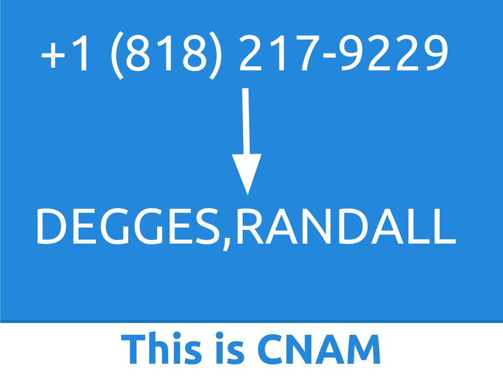 This is CNAM +1 (818) 217-9229 DEGGES,RANDALL