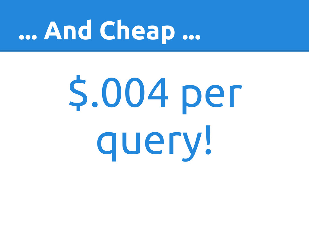 ... And Cheap ... $.004 per query!