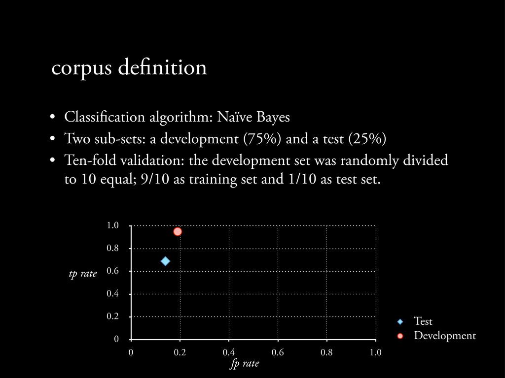 corpus de nition • Classi cation algorithm: Naï...
