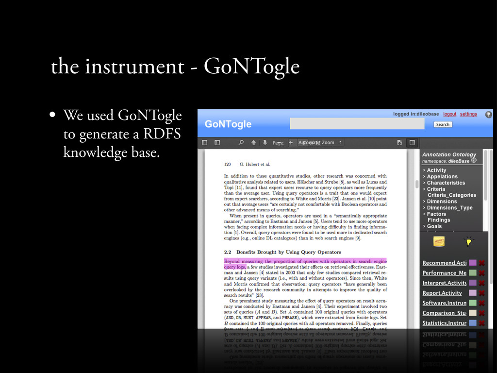 the instrument - GoNTogle • We used GoNTogle to...