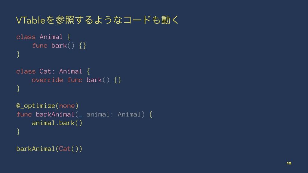 VTableΛর͢ΔΑ͏ͳίʔυಈ͘ class Animal { func bark()...