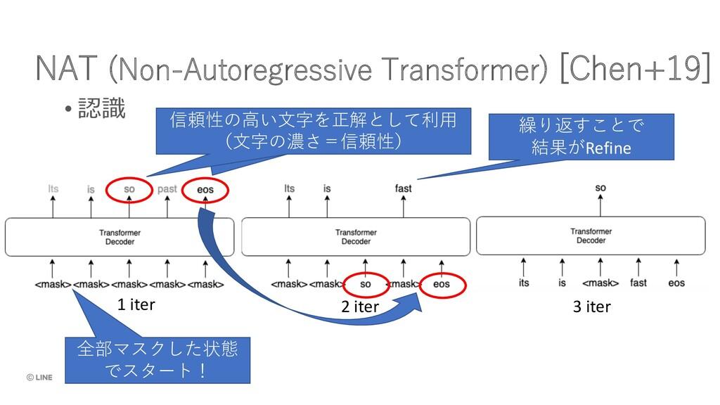 NAT (Non-Autoregressive Transformer) [Chen+19] ...