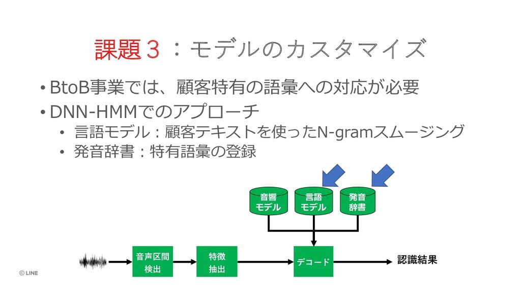 課題3:モデルのカスタマイズ • BtoB事業では、顧客特有の語彙への対応が必要 • DNN-...