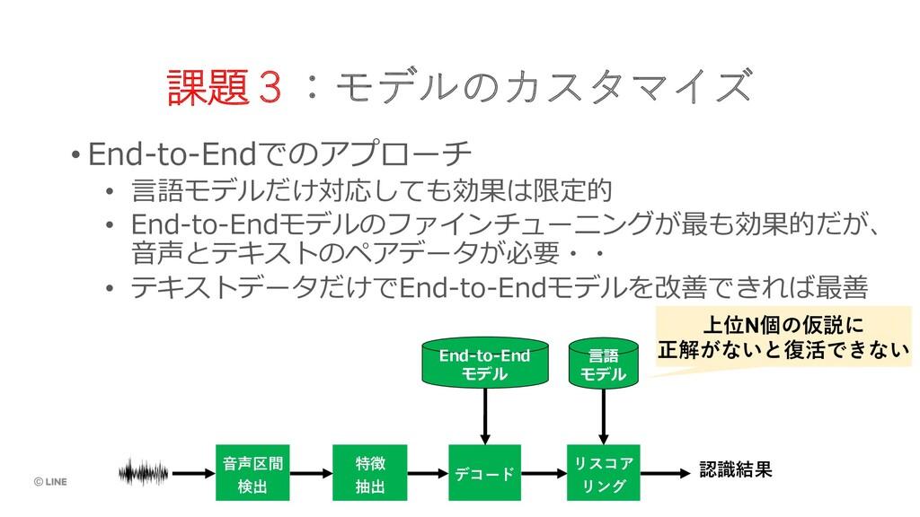 課題3:モデルのカスタマイズ • End-to-Endでのアプローチ • ⾔語モデルだけ対応し...