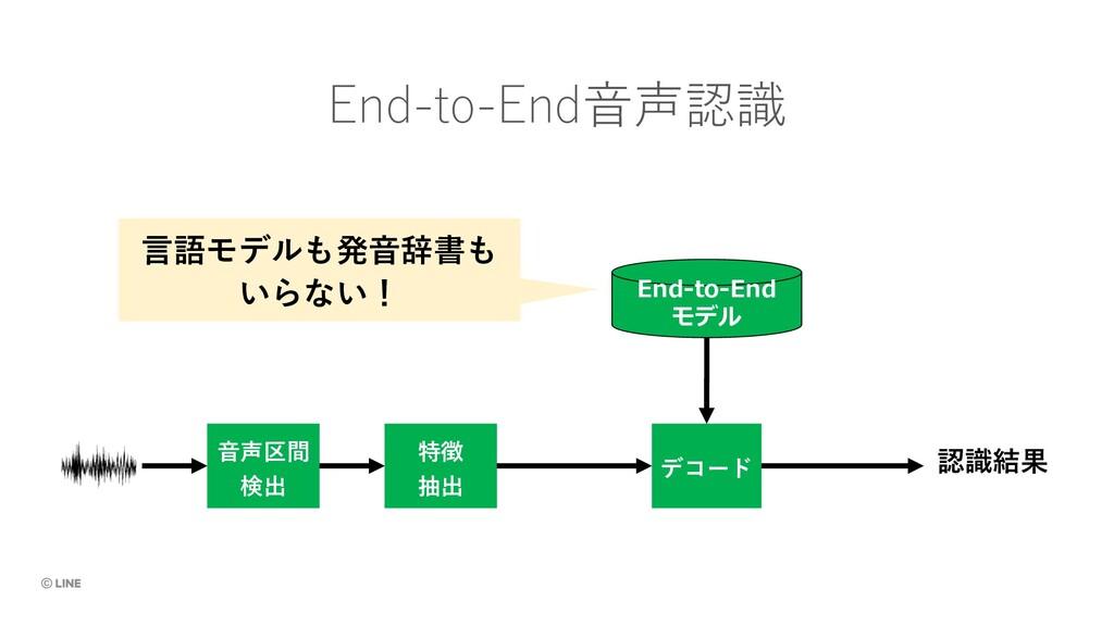 ⾳声区間 検出 特徴 抽出 デコード 認識結果 End-to-End⾳声認識 End-to-E...