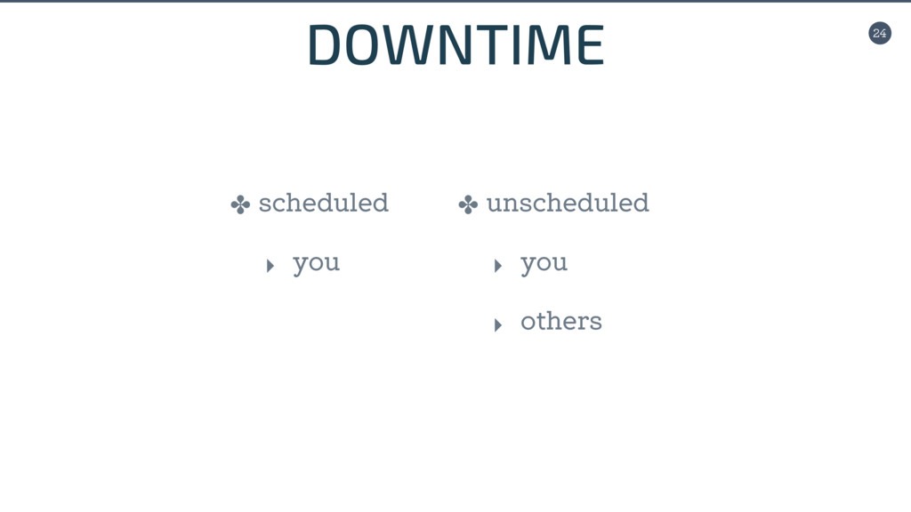 24 DOWNTIME ✤ scheduled ‣ you ✤ unscheduled ‣ y...