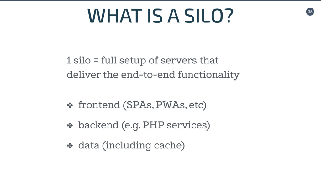 35 WHAT IS A SILO? ✤ frontend (SPAs, PWAs, etc)...