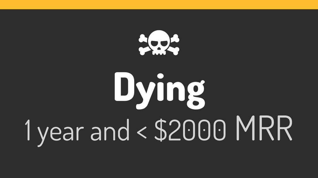 Dying 1 year and < $2000 MRR