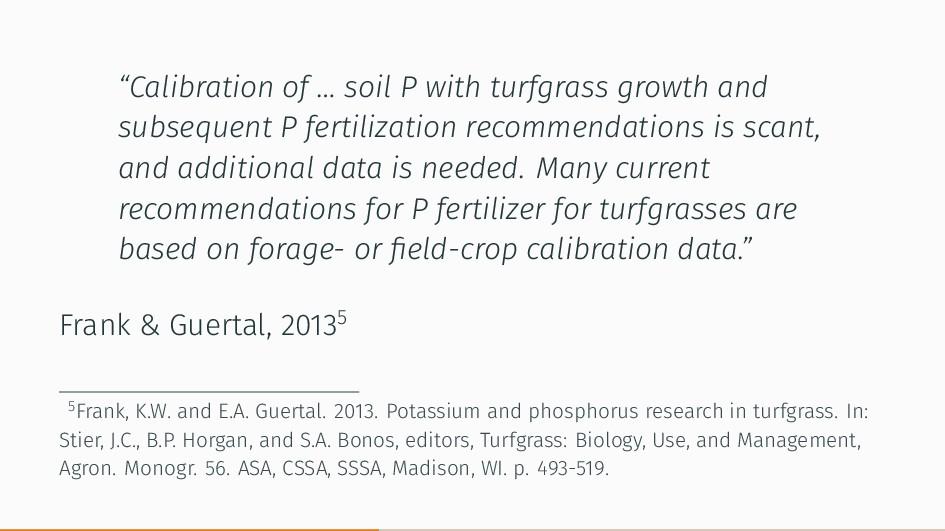 """Calibration of … soil P with turfgrass growth ..."