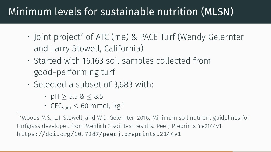 Minimum levels for sustainable nutrition (MLSN)...