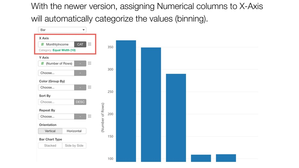 With the newer version, assigning Numerical col...