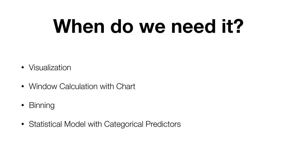 When do we need it? • Visualization • Window Ca...