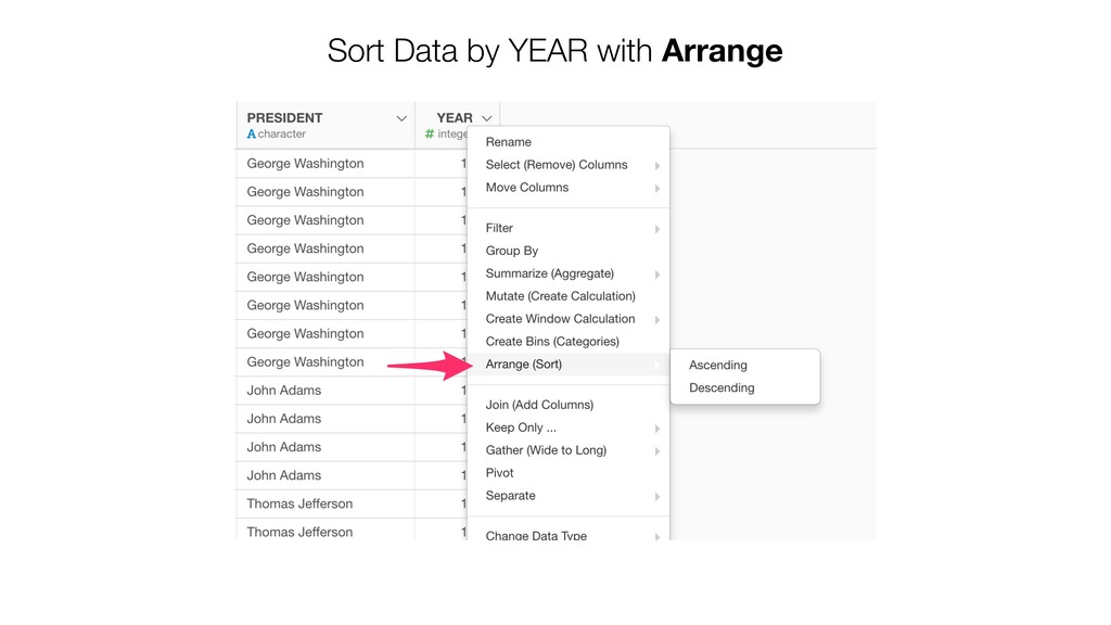 Sort Data by YEAR with Arrange