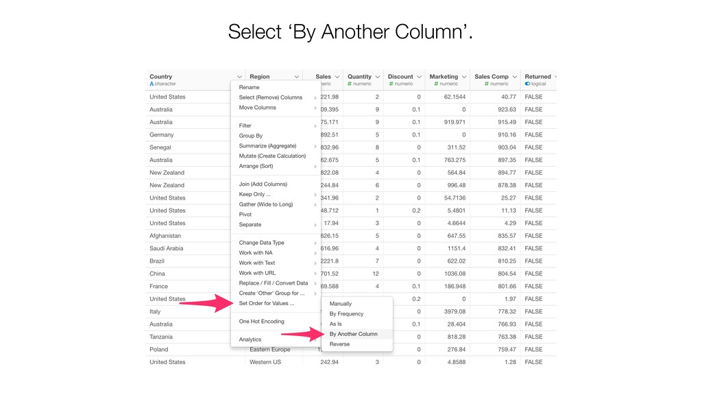 Select 'By Another Column'.