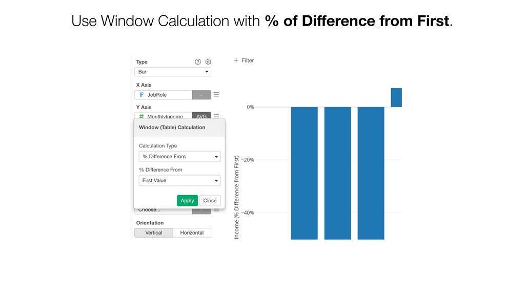 Use Window Calculation with % of Difference from...