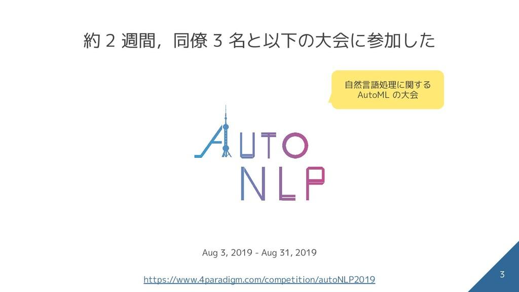 約 2 週間,同僚 3 名と以下の大会に参加した 3 自然言語処理に関する AutoML の大...