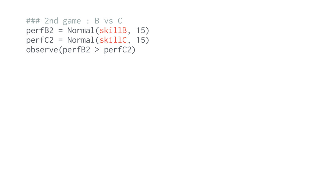 ### 2nd game : B vs C perfB2 = Normal(skillB, 1...